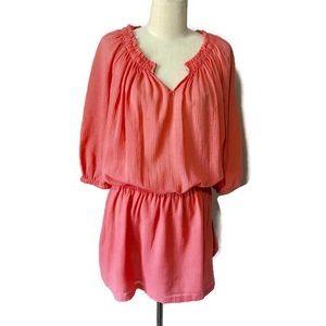 J.Crew XS coral cotton gauze 3/4 sleeve dress